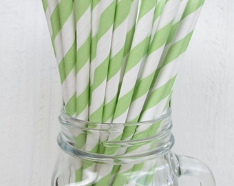 250 Green Apple Striped Paper Straws