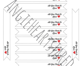 Printable Drink Flags All You Need Is Love Red Black PDF Instant Download