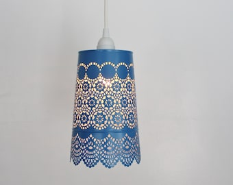 Denim BLUE Lace Pendant Lamp - UpCycled Hanging Lighting Fixture Featuring a Mesh Metal Lamp Shade - BootsNGus Lamps Design
