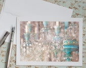 Paris Photo Notecard - Blue Chandelier, France Travel Photo Note Card, Stationery