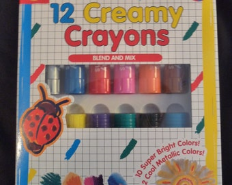 Creamy Crayons - NIP - 12 Beautiful Blendable Colors - Great for Crafting - Collage - Scrapbooking - Kids Projects - FREE Shipping