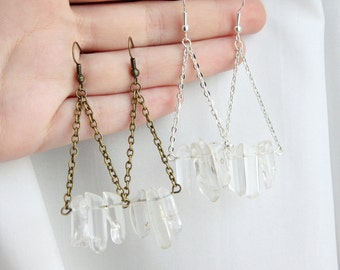 Raw Quartz Crystal Point Earrings - Drop Dangle Natural Clear Gemstone Gold Silver Plated Brass Spike Chevron Arrow Chandelier Triangle
