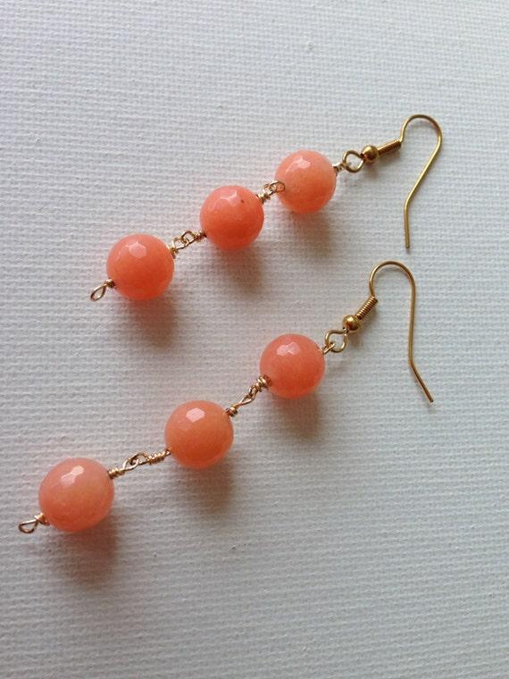 Gala Coral Dyed Jade Earrings