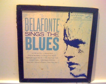 2Days Sale Harry Belafonte/ Belafonte sings the Blues -Blues - Vintage 50s Vinyl Record Album Framed Cover Collectible LP