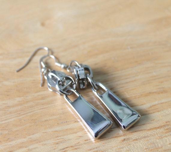 Silver zipper earrings goth punk fashion eco friendly