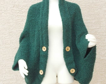 Hand Knit Handmade Chunky Cocoon Cape Sweater Jacket Emerald Green Plus Size
