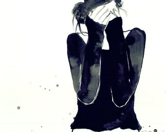 Girl Confused, Print from original watercolor fashion illustration by Jessica Durrant