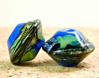 Sale lampwork glass earring bead pairs ilapis beads dichroic beads organic rustic beads new paulbead