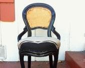 Antique Gothic Black Gloss Parlor Chair with Southwest Deadstock Fabric