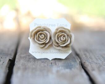 Large Taupe Light Tan Rose Flower Earrings // Neutral Earrings // Bridesmaid Gifts // Neutral Bridesmaid Earring