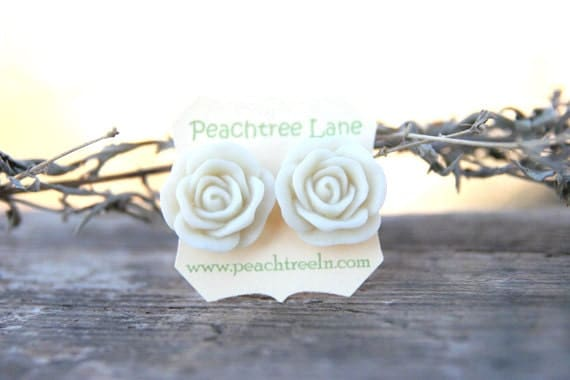 Large Cream Ivory Rose Flower Stud Earrings // Bridesmaids Gifts // Bridesmaid Earrings