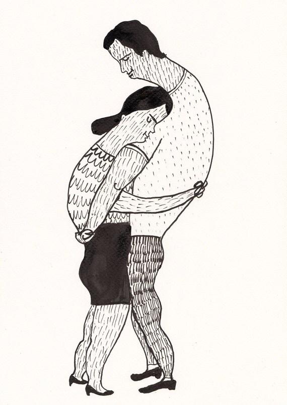 Grande amore originali in bianco e nero inchiostro disegno for Disegni bianco e nero tumblr