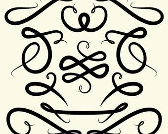Decorative Vertical Line Clip Art Flourishes clip art / 11 png