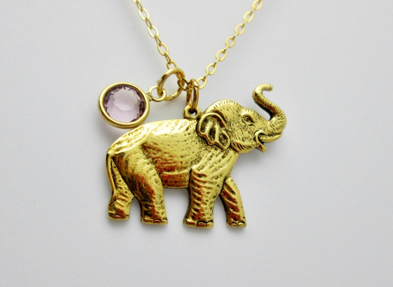 elephant necklace antique gold elephant charm with light
