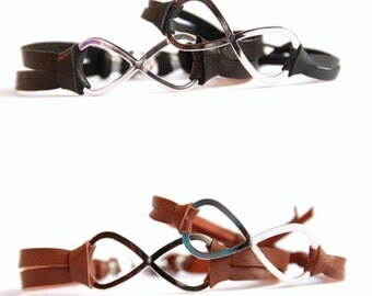 Infinity Bracelet, HIS and HERS pair - Infinity Bracelets - Choose between black and brown leather