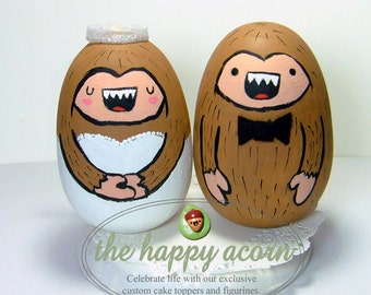 Bigfoot Sasquatch Wedding Cake Topper Bride and Groom - Handmade by The Happy Acorn