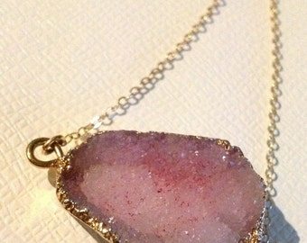 Pink Drusy Quartz Necklace in Gold