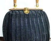 Darling Vintage Black Basket Purse with Wooden Handles by Lesco Lona