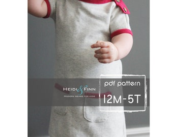 PlayDay Dress PDF pattern and tutorial 12m-5t EASY SEW tunic dress jumper