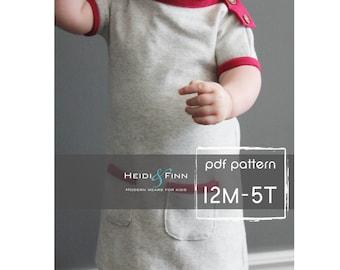 One Kleid PDF Muster und Tutorial 12m-5 t einfach nähen Tunika Kleid jumper