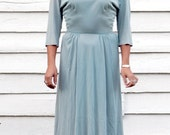 draped pale blue and gold embroidered collar 40s dress S