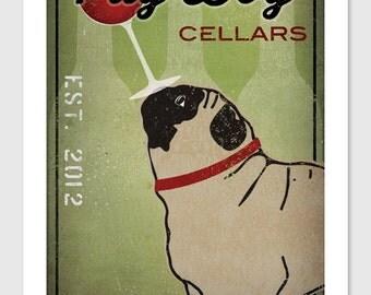 PERSONALIZED - custom -- Pug Dog Wine Cellars Vineyard  ILLUSTRATION Giclee Print 12x18  inches signed