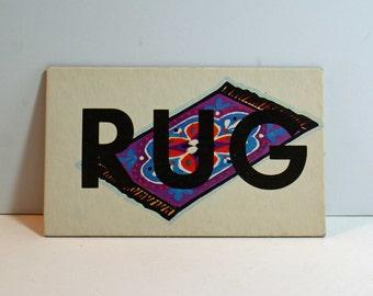 Vintage Flash Card RUG Picture Card Nursery Decor Ephemera Yellow WE