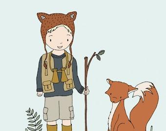 Woodland Art - Adventure Pals - Boy and Fox - Boy Nursery Art Print, Boys Room Decor, Children Art, Kids Wall Art