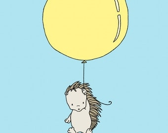 Woodland Nursery Art -- Porcupine Balloon -- Porcupine Art -- Woodland Animal Art, Children Art Print, Kids Wall Art