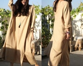 Linen Maxi Dress for women/ Oversize Abaya Dress/ Plus Size Dress in Khaki(B339)