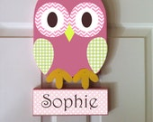 owl room decor, owl nursery decor, owl door hanger, personalized sign, kid's room decor, baby name sign, owl door sign, personalized owl