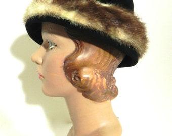 Vintage 1950s Fur Hat - 50s Black Velvet and Mink - on sale