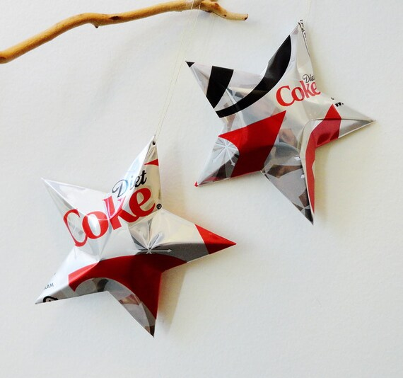 DIET Coke Holiday Stars Christmas Ornaments Soda Can Upcycled Coca Cola
