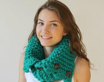 Green HandMade Scarf Shawl Neckwarmer Cowl Christmas gift for women girls gift Under50
