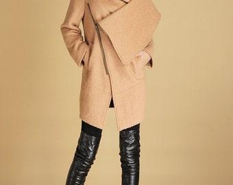 camel coat, short coat, winter jacket with hood, wool coat, warm jacket, asymmetrical coat, zipper coat, mini coat, gift ideas(436)