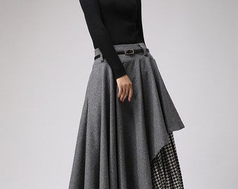 Long Gray Skirt, Tea Length Skirt, Warm Winter Skirt,houndstooth skirt, Winter Fashion, Wool clothing,Black and White, Gray Wool skirt 720