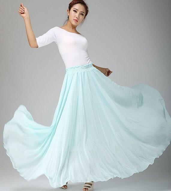 Long chiffon skirt, elastic waist skirt, powder blue skirt, chiffon maxi skirt, flowy skirt, Custom skirt, Plus size Skirt, summer skirt 661