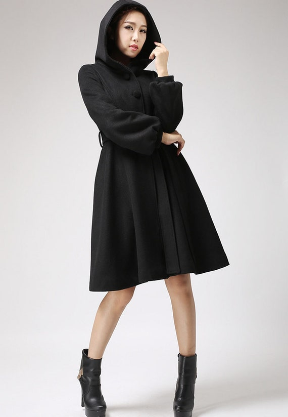 Black wool coat - women hooded coat - winter jacket cashmere coat (711)