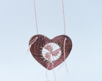 Woven Heart Necklace, Pottery and Fiber Necklace, Teneriffe, Tenerife, Dusty Rose Blush Burgundy Pink and Tan, Statement Piece