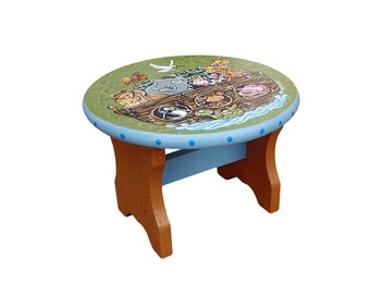 Noah's Ark Hand Painted Stool 7.5HX10.5W