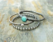 Turquoise Stacking Rings Set in Antiqued Sterling Silver Featuring Kingman, Arizona Turquoise - 3 Rustic Stacking Bands