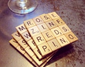 Scrabble Tile Coasters WINE THEME, Set of 4, 4x4 tiles, Foam Backed, Scrabble Game Pieces, House Warming Gift