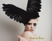 Black Couture Wings, Fashion Headpiece, Fascinator, Avant garde hat, Derby Hat, Melbourne Cup hats,Black Halloween Hat