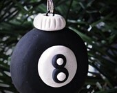 Christmas Ornament, Eight Ball Christmas Tree Ornament, 8 Ball ornament, polymer clay xmas ornament, pool ball ornament, pool players gift