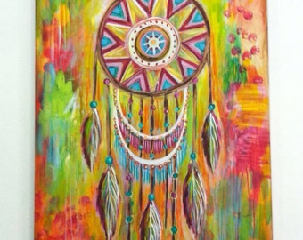 Catching Dreams // Abstract Tribal Native American Modern Colorful Original Painting - 30 x 40