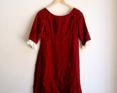 60s Red Velvet Empire Waist Mini Dress with 3/4 Sleeves and Lace Cuff