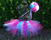 Abby Cadabby tutu and wand set--Girls Birthday tutu-- Fairy tutu and wand set--Abby Cadabby Costume-   Hot pink tutu- Turquoise tutu-