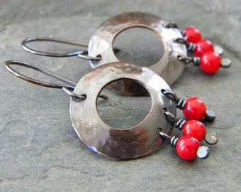 Red Coral Copper Washer Earrings Dark Oxidized Copper Candy Apple Red Artisan Jewelry