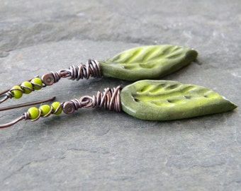 Olive Green Porcelain Leaf Copper Earrings Lime Green Long Dangle Wire Wrapped Oxidized Artisan Jewelry