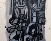 Black and White Modern Art Painting by Julie Steiner